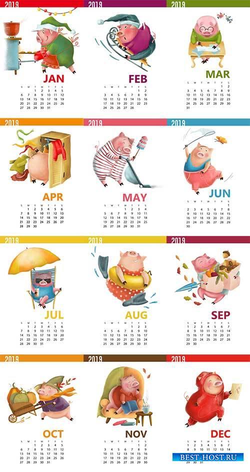 Календарь 2019 со свинкой в векторе / Calendar 2019 with pig in vector