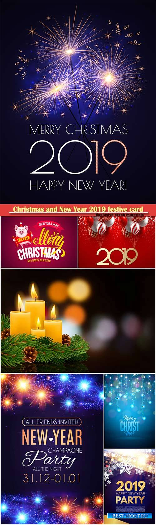 Christmas and New Year 2019 festive card