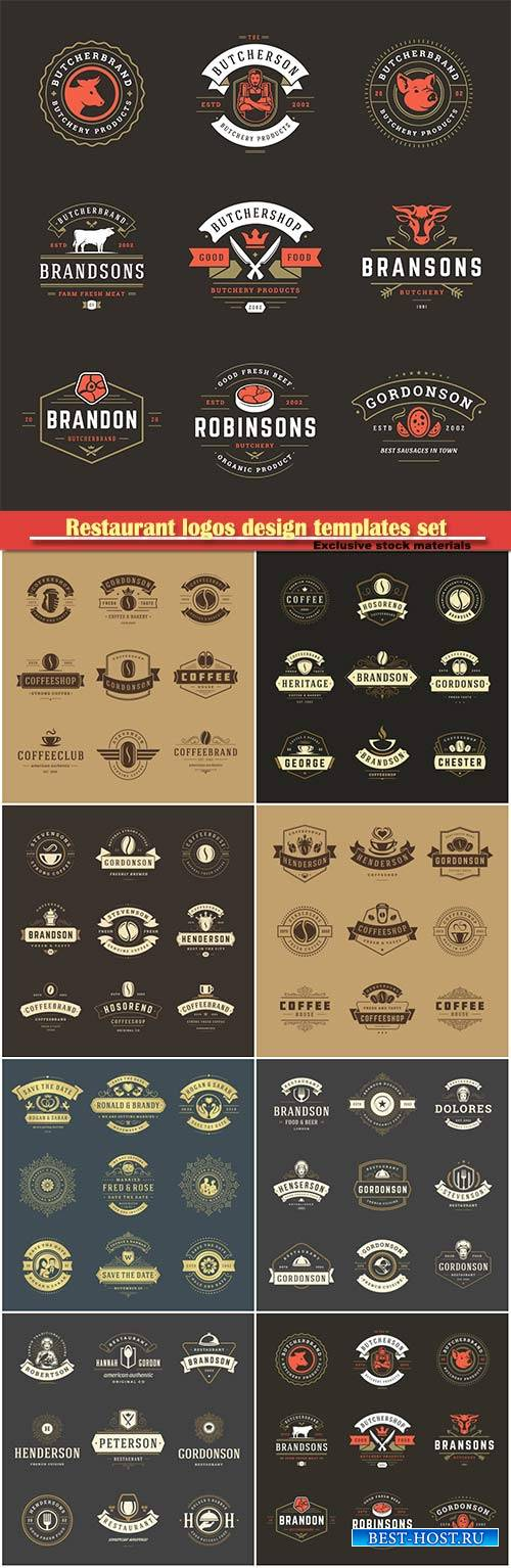 Restaurant logos design templates set vector illustration
