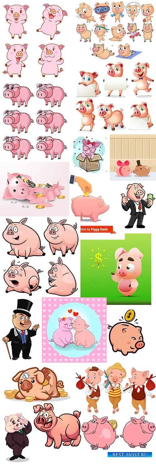 Символ 2019 года - Свинья в векторе - 2 / Symbol of 2019 - Pig in vector -2