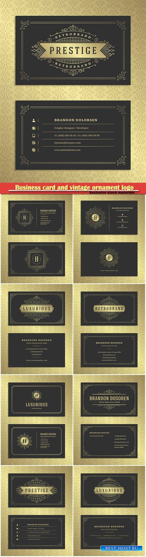 Luxury business card and vintage ornament logo vector template
