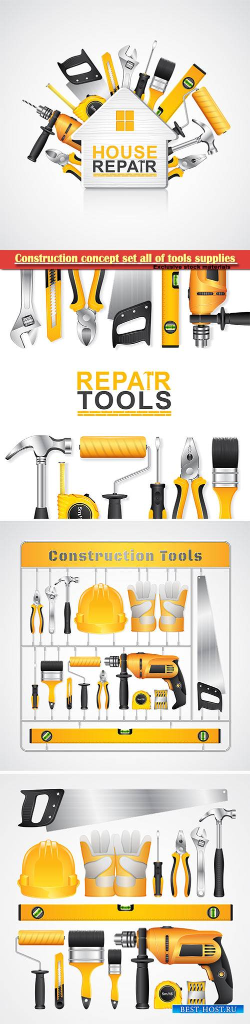 Construction concept set all of tools supplies for house repair builder vec ...