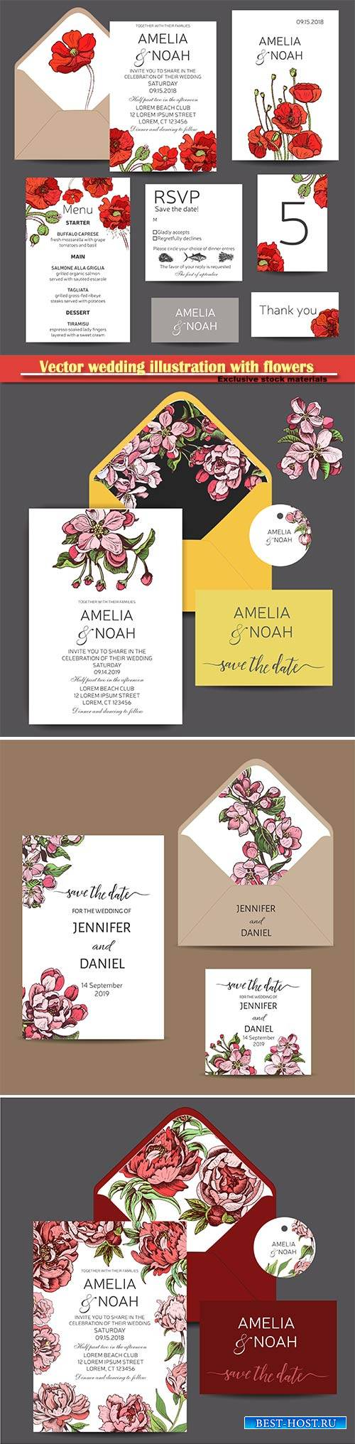 Vector wedding illustration with flowers