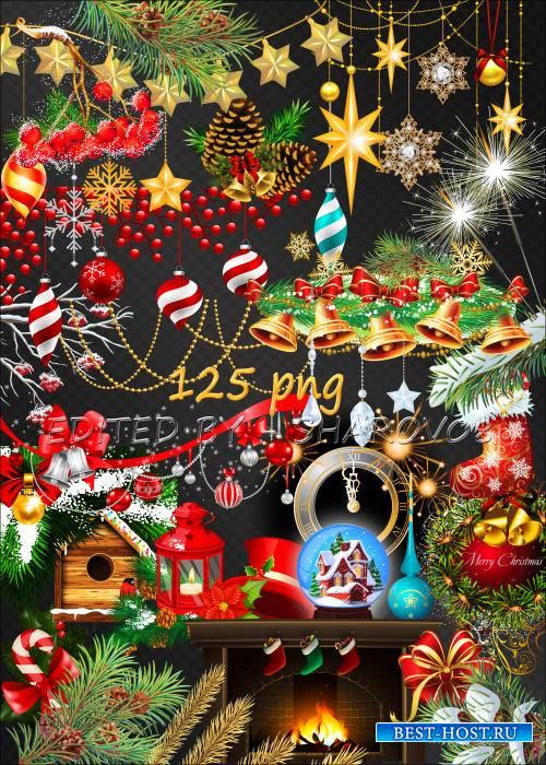 Клипарт на прозрачном фоне - Декоративные элементы для оформления новогодних фото