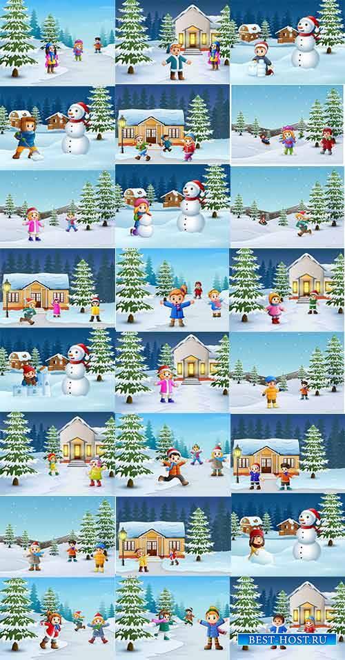 Зимние забавы - 5 - Векторный клипарт / Winter fun - 5 - Vector Graphics