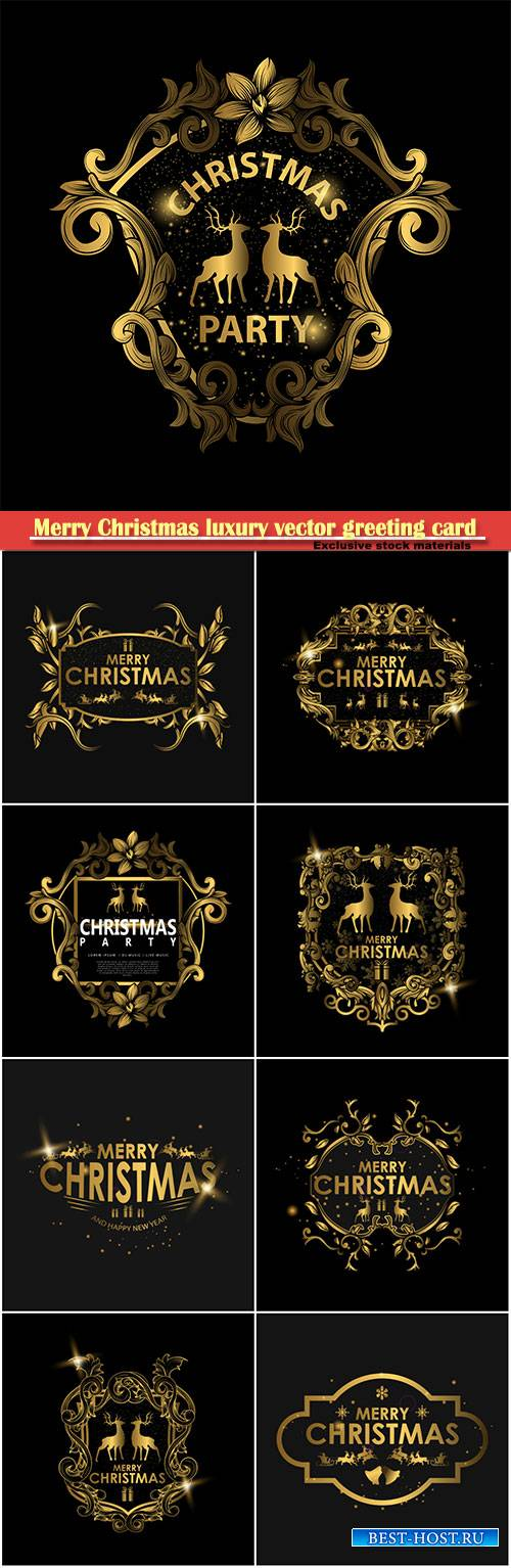 Merry Christmas luxury vector greeting card