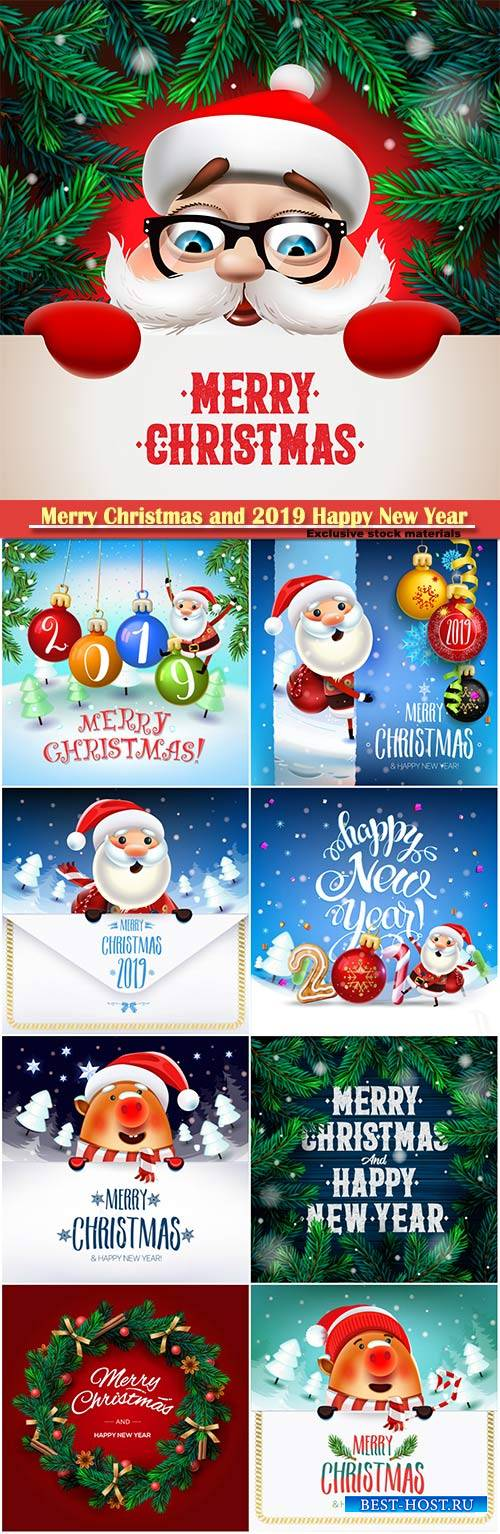 Happy New Year 2019 decoration vector poster card