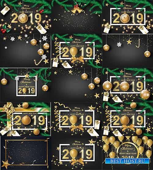 Новогодние фоны - 2019 - Векторный клипарт / New Year backgrounds - 2019 -  ...