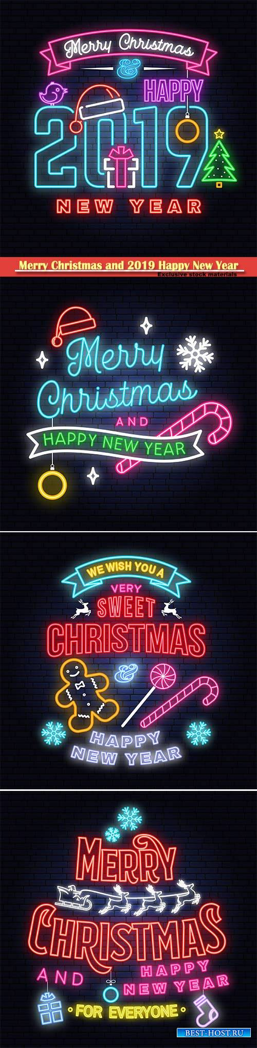 Merry Christmas and 2019 Happy New Year neon sign, emblem, bright signboard ...