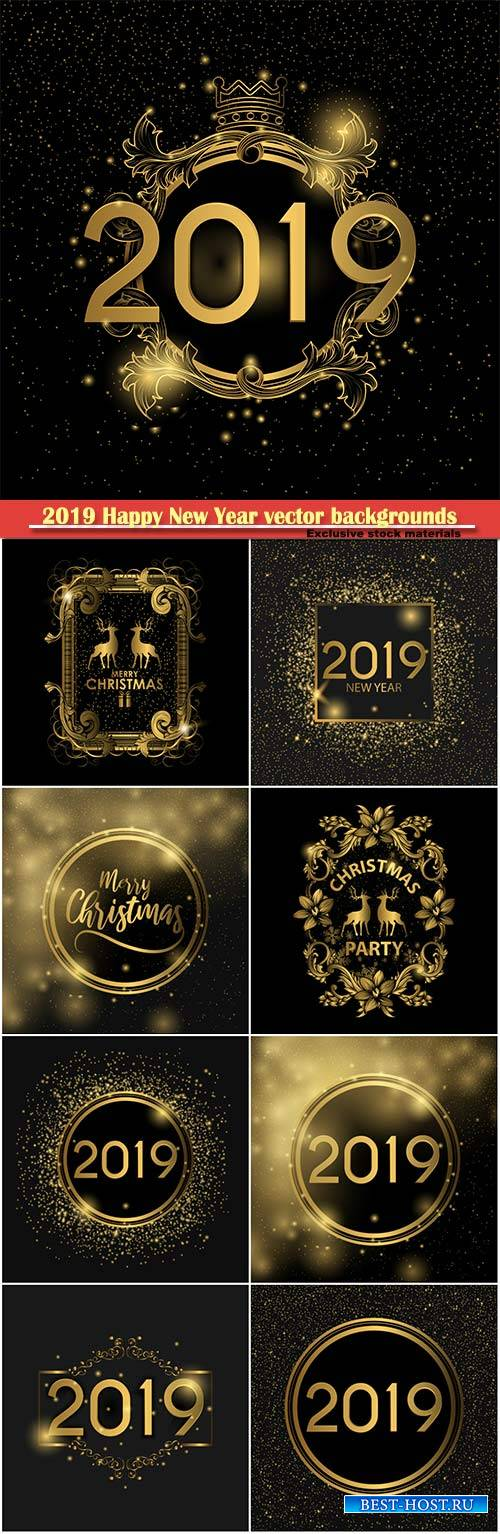 2019 Happy New Year vector backgrounds with gold decor