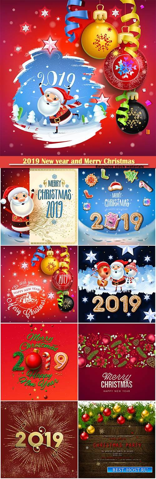 2019 New year and Merry Christmas backgrounds, Santa Claus on a winter back ...