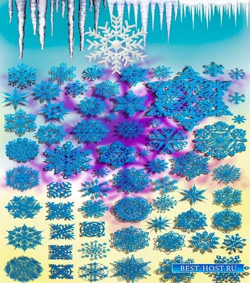 Коллекция Png клипартов - Снежинки и сосульки
