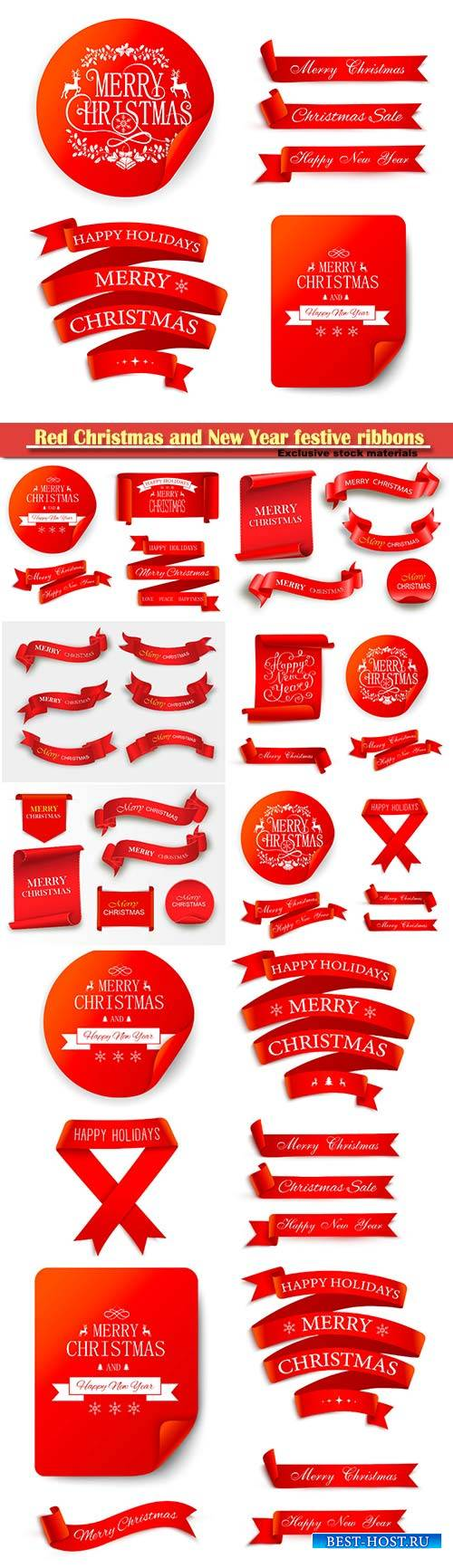 Red Christmas and New Year festive ribbons and vector stickers