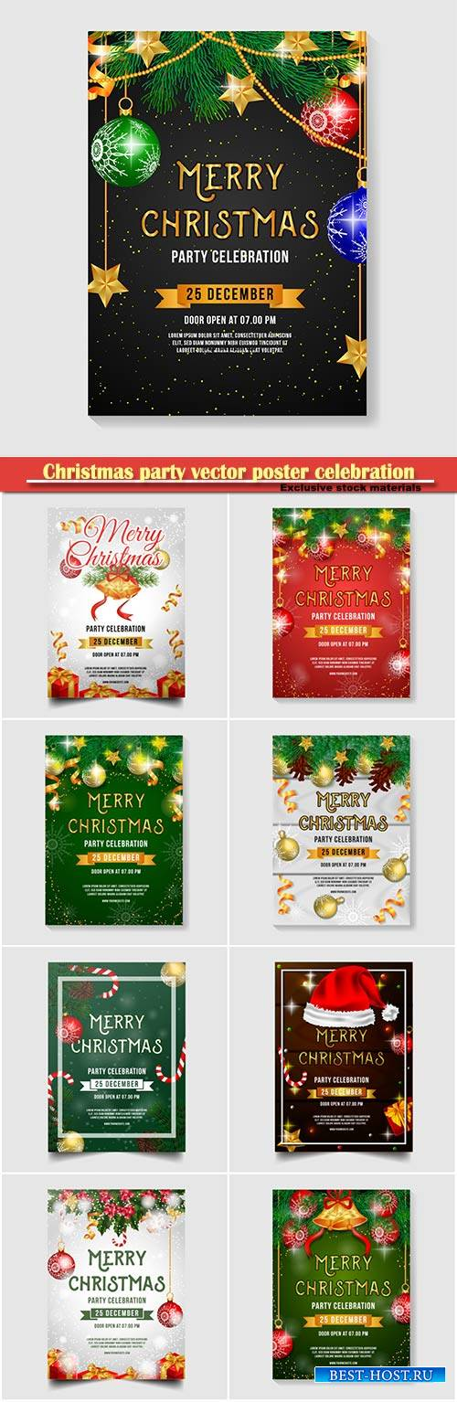 Christmas party vector poster celebration with jingle bell