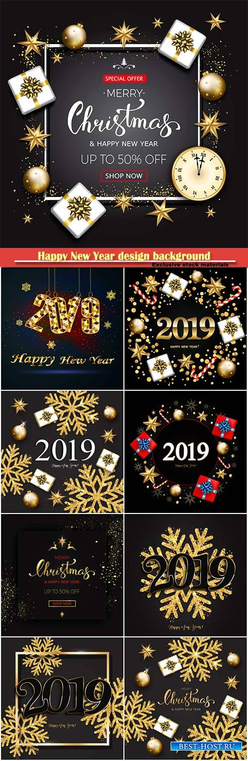 Happy new year design background with 2019, vector shining gold snowflakes