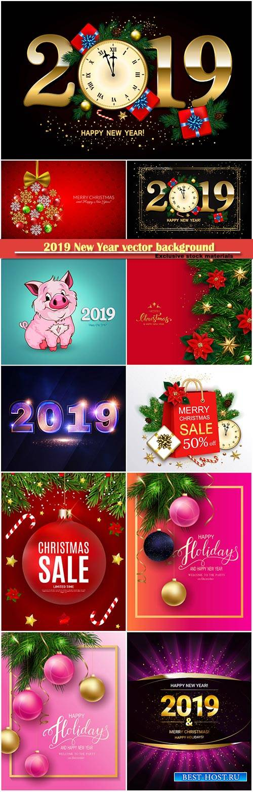 2019 New Year vector background with clock, gift box, candy cane, gold star ...