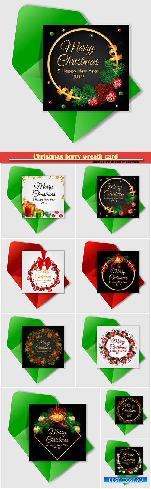 Christmas berry wreath card with jingle bell and red ribbon