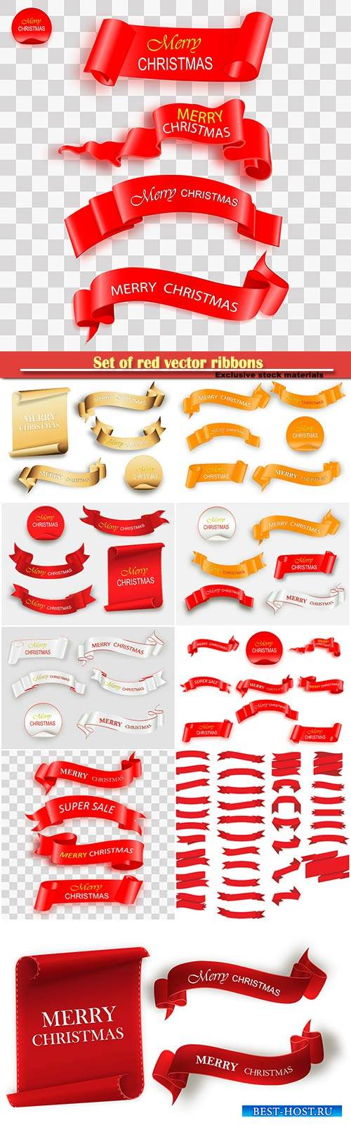 Set of red vector ribbons isolated on white background