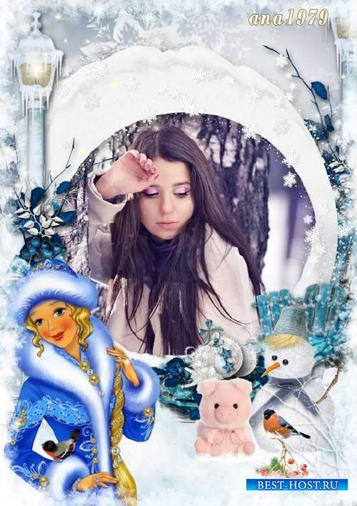 Рамка для фотошопа - Новый год тихонько постучится в двери к тем, кто чуда еще ждет
