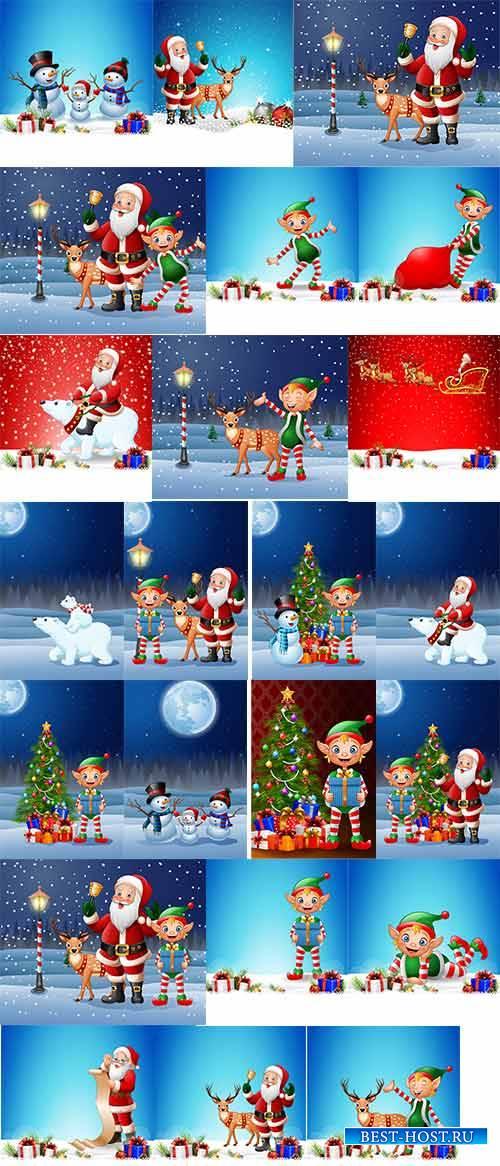 Новогодние персонажи - Векторный клипарт / Christmas characters - Vector Gr ...