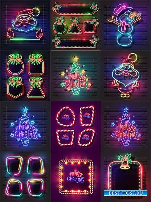 Новогодние неоновые баннеры - Векторный клипарт / Christmas neon banners -  ...