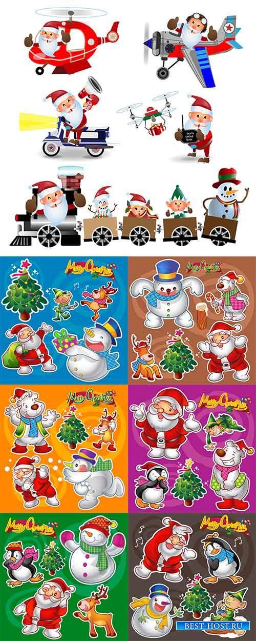 Новогодние персонажи - 2 - Векторный клипарт / Christmas characters - 2 - Vector Graphics