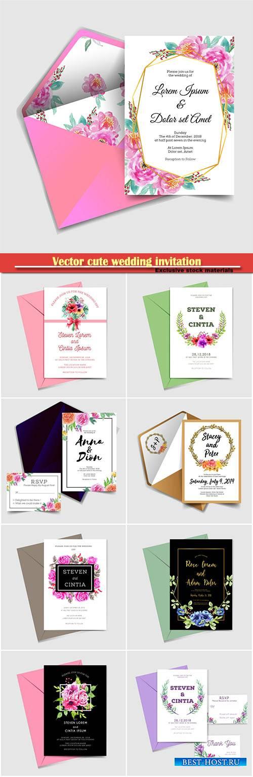 Vector cute wedding invitation, watercolor flower