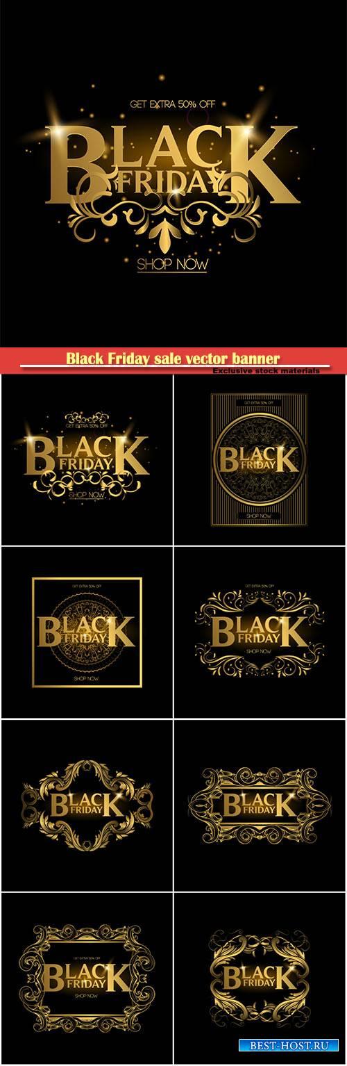 Black Friday sale vector banner, gold luxury logo