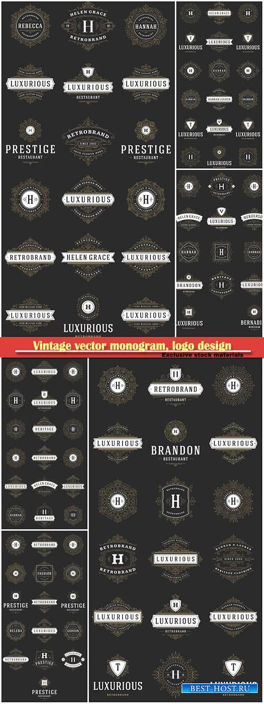 Vintage vector monogram, logo design template