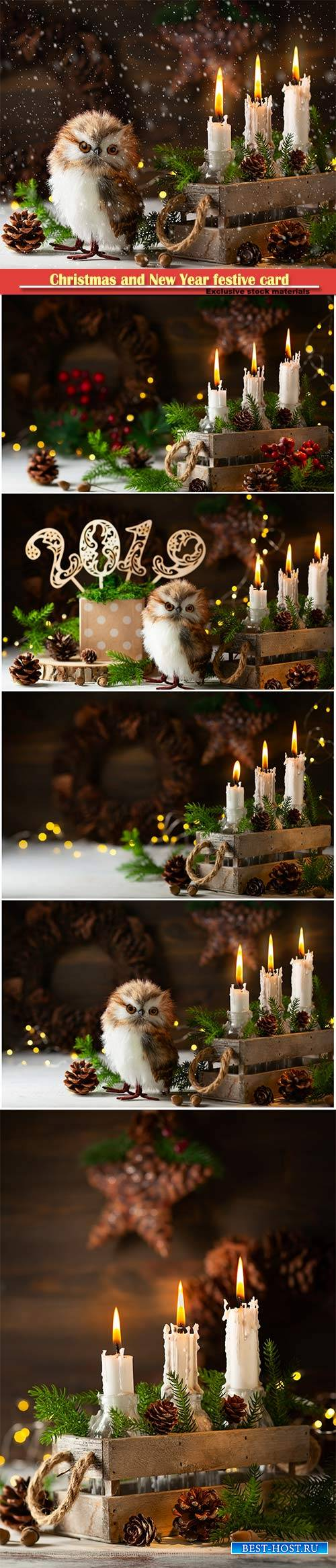 Christmas and New Year festive card, candles, owl, pine cones and fir branc ...