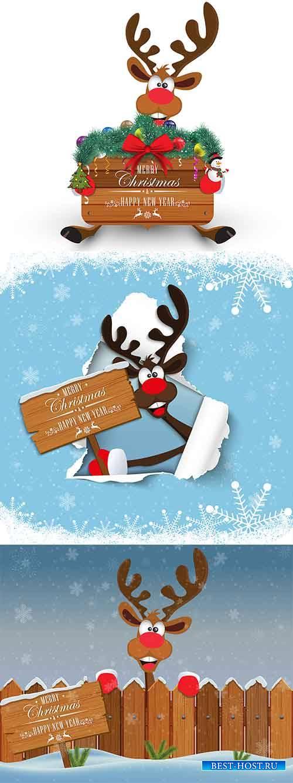 Новогодние персонажи - 3 - Векторный клипарт / Christmas characters - 3 - V ...