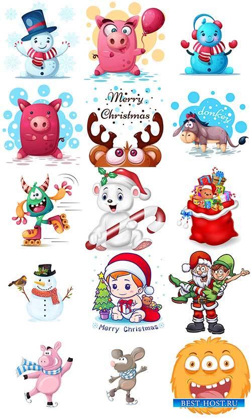 Забавные зимние персонажи в векторе / Funny winter characters in vector