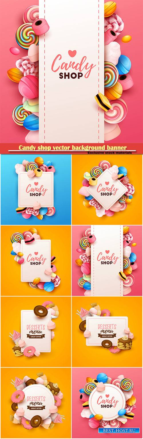 Candy shop vector background banner