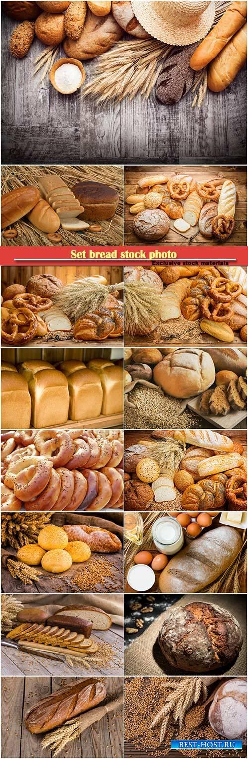 Set bread stock photo