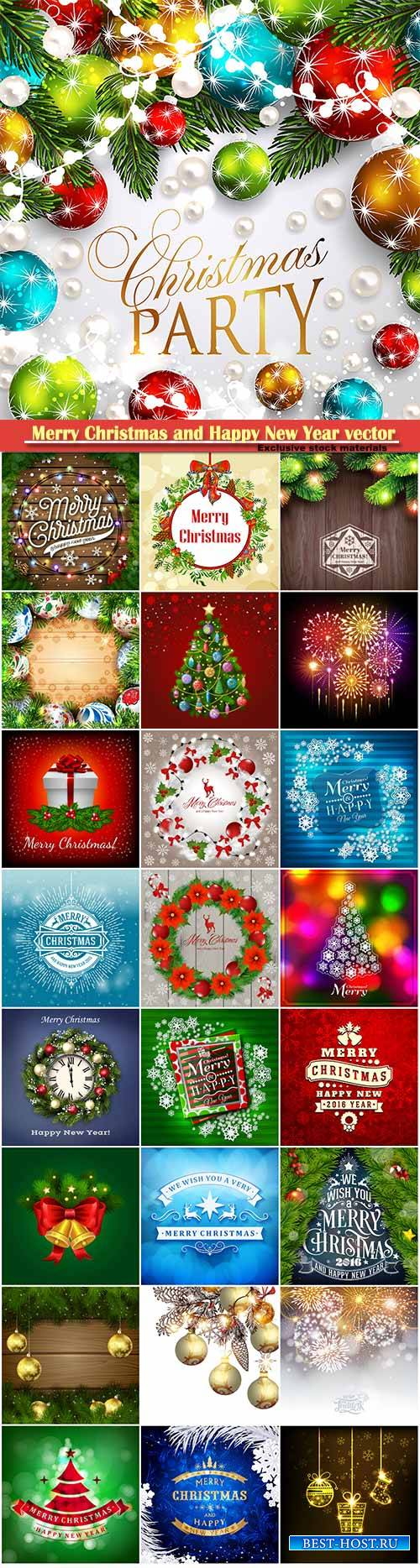 Merry Christmas and Happy New Year vector design # 18