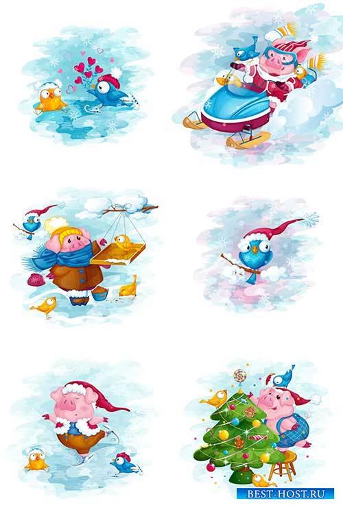 Новогодние персонажи - 5 - Векторный клипарт / Christmas characters - 5 - V ...