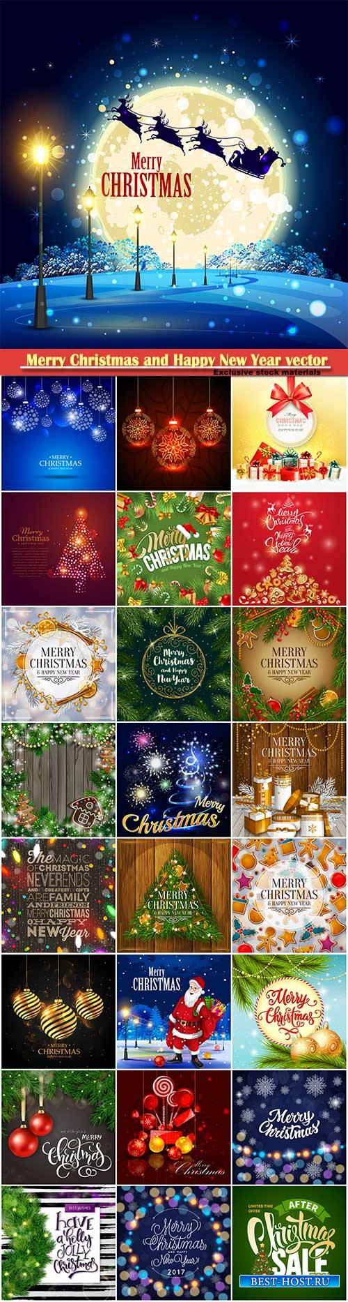 Merry Christmas and Happy New Year vector design # 29