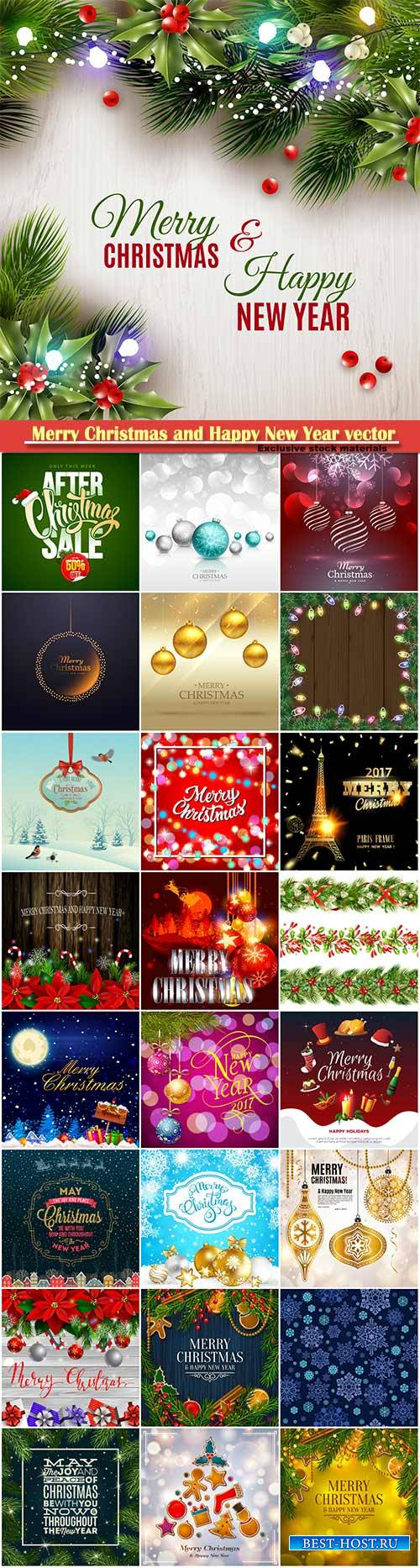 Merry Christmas and Happy New Year vector design # 30