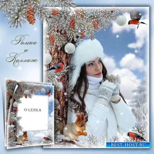 Коллаж и фоторамка - Тишина в лесу стоит, молодой снежок блестит