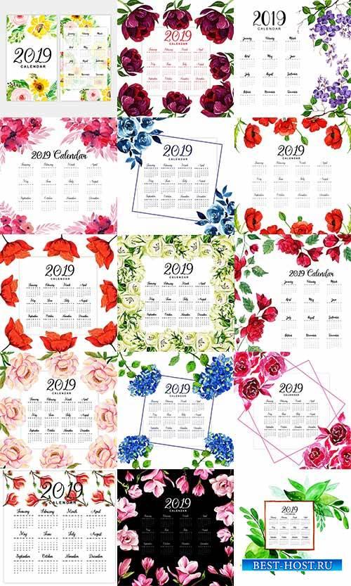 Календарь с цветами 2019 в векторе / Calendar with flowers 2019 in vector