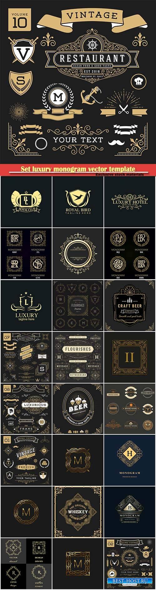 Set luxury monogram vector template, logos, badges, symbols # 14