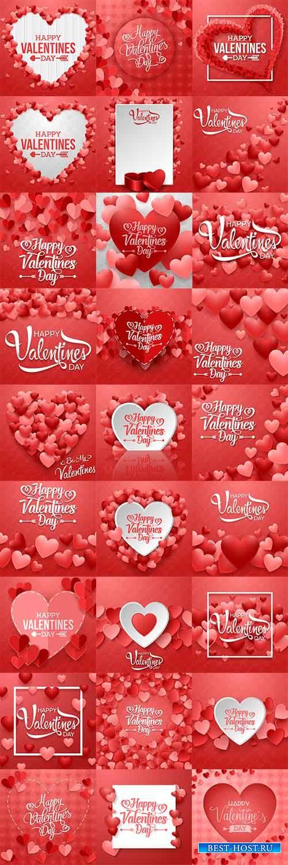 Романтические фоны с сердцами - Векторный клипарт / Romantic heart backgrounds - Vector Graphics
