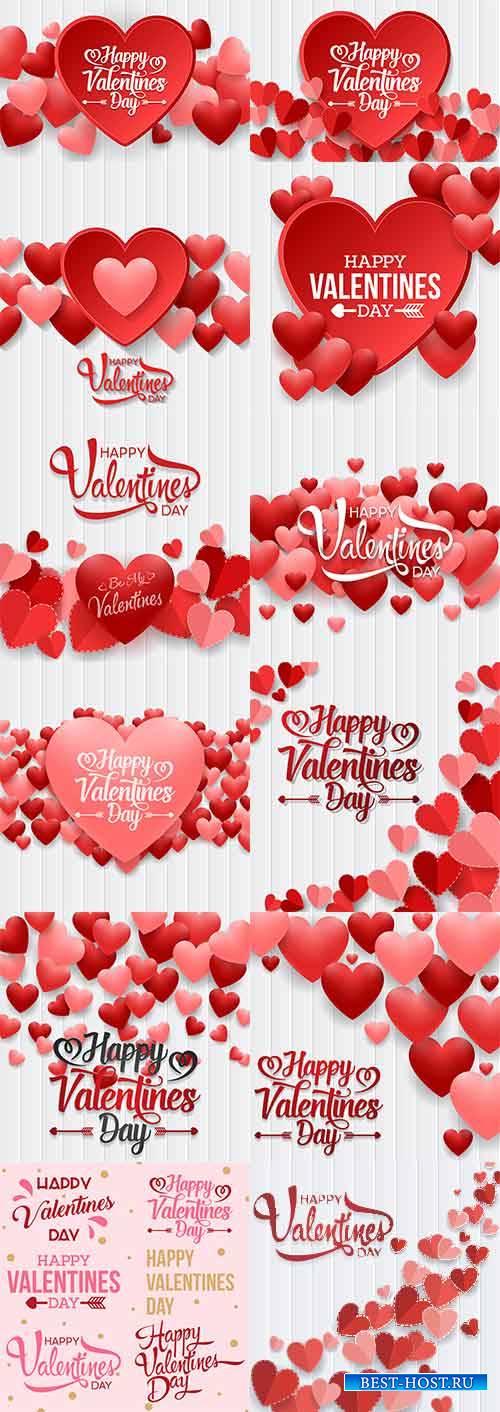 Романтические фоны с сердцами - 2 - Векторный клипарт / Romantic heart backgrounds - 2 - Vector Graphics