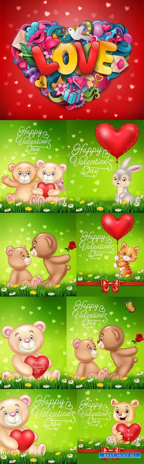 Романтические фоны с мишками - Векторный клипарт / Romantic backgrounds with bears - Vector Graphics