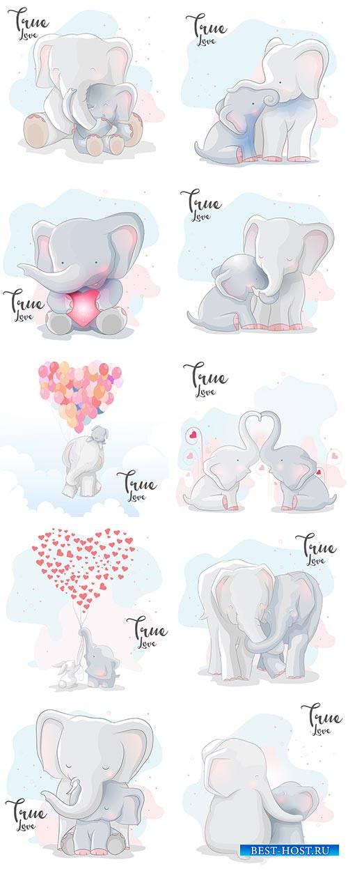 Влюблённые слоники - Векторный клипарт / Elephants in love - Vector Graphic ...