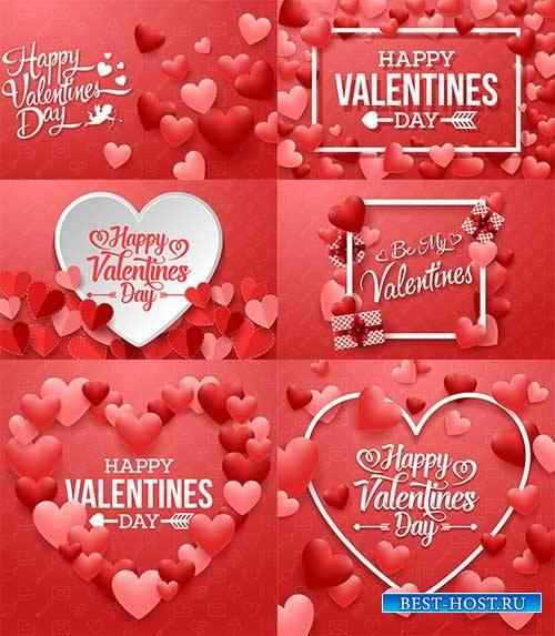 Романтические фоны с сердцами - 3 - Векторный клипарт / Romantic heart backgrounds - 3 - Vector Graphics