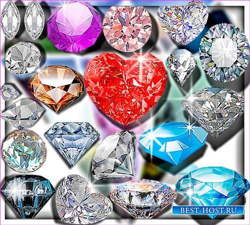 Растровые клип-арты - Разноцветные бриллианты