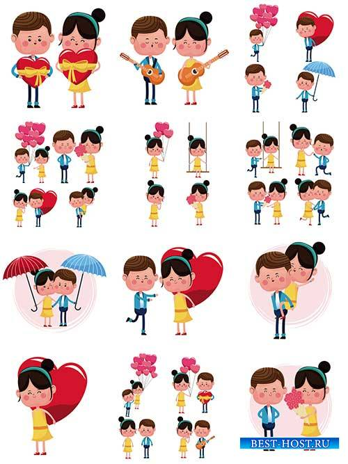 Люди встречаются, люди влюбляются - Векторный клипарт / People meet, people fall in love - Vector Graphics