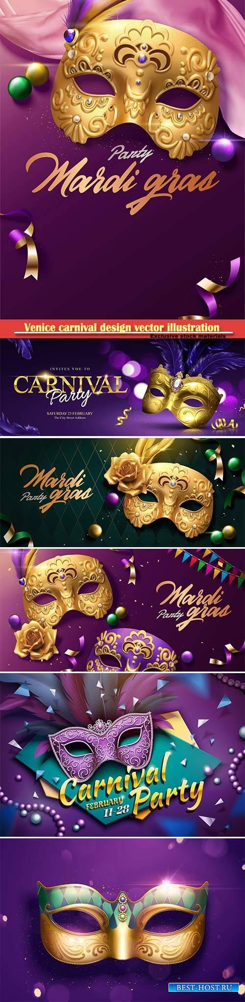 Venice carnival design vector illustration, Mardi gras # 8