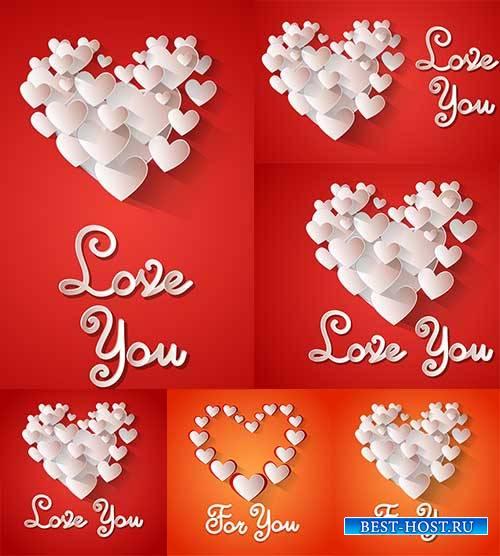 Романтические фоны с сердцами - 7 - Векторный клипарт / Romantic heart back ...